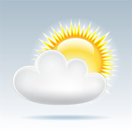 Weather icon - sun with cloud floats in the sky. Vector illustration Stock Photo - Budget Royalty-Free & Subscription, Code: 400-06562171
