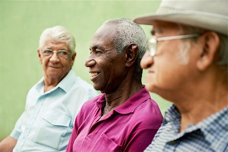 diego_cervo (artist) - retired elderly people and free time, group of happy senior african american and caucasian male friends talking and sitting on bench in park Stock Photo - Budget Royalty-Free & Subscription, Code: 400-06570243