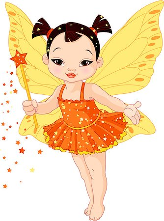 Illustration of Cute little Asian baby fairy in fly Stock Photo - Budget Royalty-Free & Subscription, Code: 400-06570339
