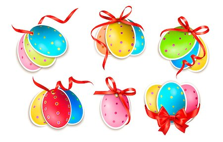 Decorative easter eggs.Easter cards with red bow and ribbons. Vector Stock Photo - Budget Royalty-Free & Subscription, Code: 400-06570408