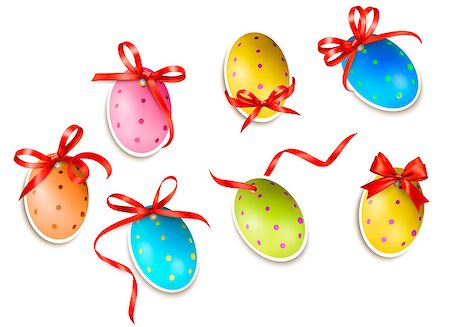 Decorative easter eggs.Easter cards with red bow and ribbons. Vector Stock Photo - Budget Royalty-Free & Subscription, Code: 400-06570400