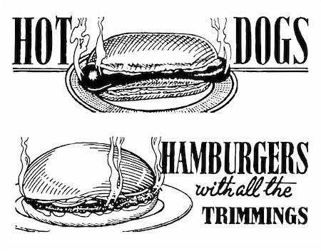 Vector Retro Hotdog and Hamburger Banners. Great for any vintage or retro design. Stock Photo - Budget Royalty-Free & Subscription, Code: 400-06627463