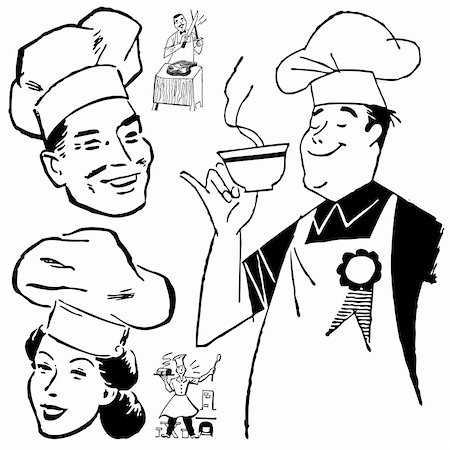 Vector Retro Chef Graphics. Great for any vintage or retro design. Stock Photo - Budget Royalty-Free & Subscription, Code: 400-06627474