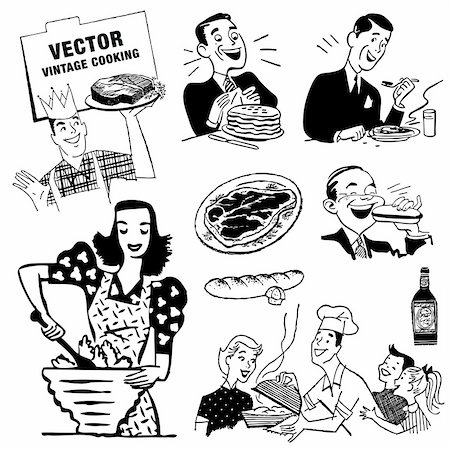 Vector Retro Kitchen Graphics. Great for any vintage or retro design. Stock Photo - Budget Royalty-Free & Subscription, Code: 400-06627475