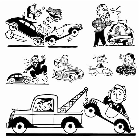 Vector Retro Car Accident Graphics. Great for any vintage or retro design. Stock Photo - Budget Royalty-Free & Subscription, Code: 400-06627472