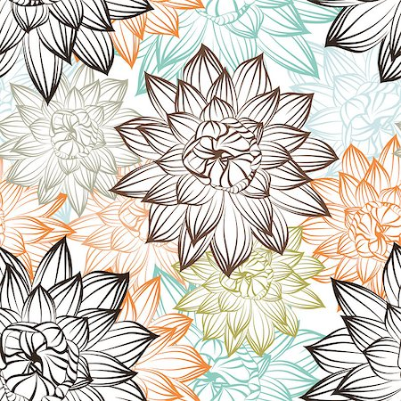 seamless floral - Seamless vector floral pattern. For easy making seamless pattern just drag all group into swatches bar, and use it for filling any contours. Stock Photo - Budget Royalty-Free & Subscription, Code: 400-06628353
