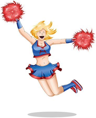 A vector illustration of a blond cheerleader jumping in the air with happiness. Stock Photo - Budget Royalty-Free & Subscription, Code: 400-06629422