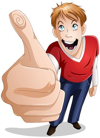 A vector illustration of a young guy giving a thumbs up and smiling. Stock Photo - Budget Royalty-Free & Subscription, Code: 400-06629423