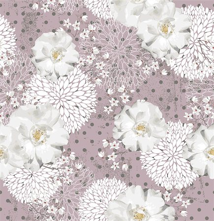 Seamless pattern with flowers  Floral background with roses and cherry blossom Stock Photo - Budget Royalty-Free & Subscription, Code: 400-06629564