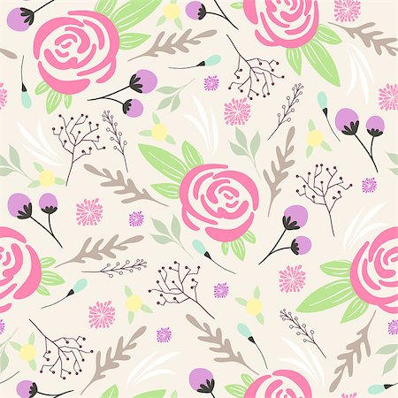 peony in vector - Seamless floral pattern. Background with flowers and leafs Stock Photo - Budget Royalty-Free & Subscription, Code: 400-06629566