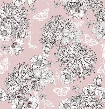 peony design vector - Seamless floral pattern. Background with flowers and butterflies. Stock Photo - Budget Royalty-Free & Subscription, Code: 400-06629568