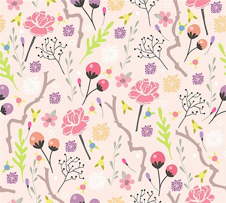 peony design vector - Seamless floral pattern. Background with flowers and leafs. Stock Photo - Budget Royalty-Free & Subscription, Code: 400-06629569