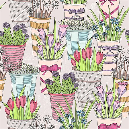 pattern paeonia - Cute seamless floral pattern. Pattern with flowers in buckets. Stock Photo - Budget Royalty-Free & Subscription, Code: 400-06629562