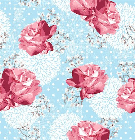 Seamless pattern with flowers  Floral background with roses and cherry blossom Stock Photo - Budget Royalty-Free & Subscription, Code: 400-06629563