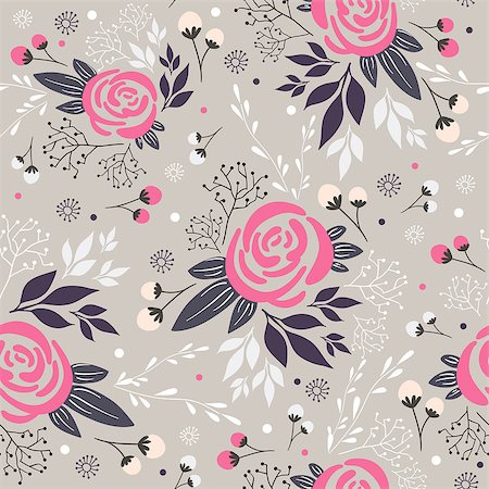 peony design vector - Seamless floral pattern. Background with flowers, leafs and berries. Stock Photo - Budget Royalty-Free & Subscription, Code: 400-06629570