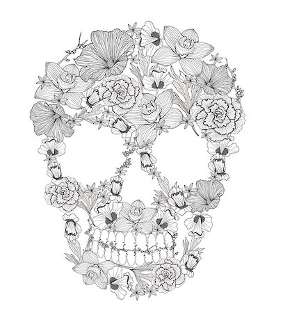 rose vector - Skull from flowers. Stock Photo - Budget Royalty-Free & Subscription, Code: 400-06629571