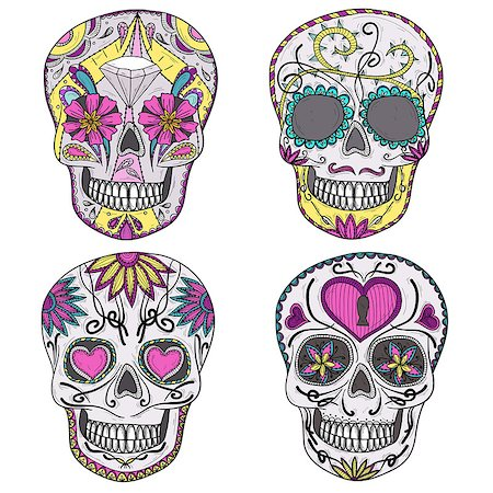 rose patterns - Mexican skull set. Colorful skulls with flower and heart ornaments. Sugar skulls. Stock Photo - Budget Royalty-Free & Subscription, Code: 400-06629593