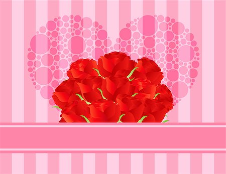 dozen roses - Dozen Red Rose Flowers for Valentines or Mothers Day on Pink Stripes Pattern Background Illustration Stock Photo - Budget Royalty-Free & Subscription, Code: 400-06629962