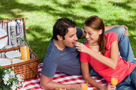Woman putting food into her friends mouth as they lie on a blanket with a picnic basket,food and flowers Stock Photo - Budget Royalty-Free & Subscription, Code: 400-06635506