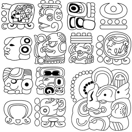 Vector image of ancient Mayan hieroglyphs on white Stock Photo - Budget Royalty-Free & Subscription, Code: 400-06638644