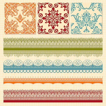 Vector bright seamless paterns and seamless lacy ribbons, fully editable eps 8 file, seamless patterns in swatch menu Stock Photo - Budget Royalty-Free & Subscription, Code: 400-06638818