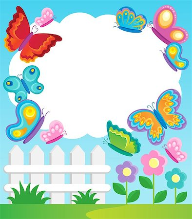 Butterfly theme frame 1 - vector illustration. Stock Photo - Budget Royalty-Free & Subscription, Code: 400-06639457