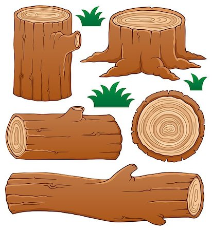 Log theme collection 1 - vector illustration. Stock Photo - Budget Royalty-Free & Subscription, Code: 400-06639475