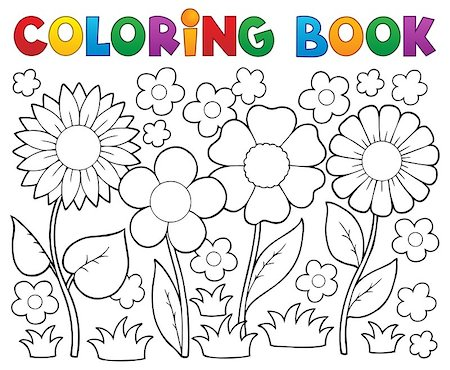 flower clipart paint - Coloring book with flower theme 2 - vector illustration. Stock Photo - Budget Royalty-Free & Subscription, Code: 400-06639470
