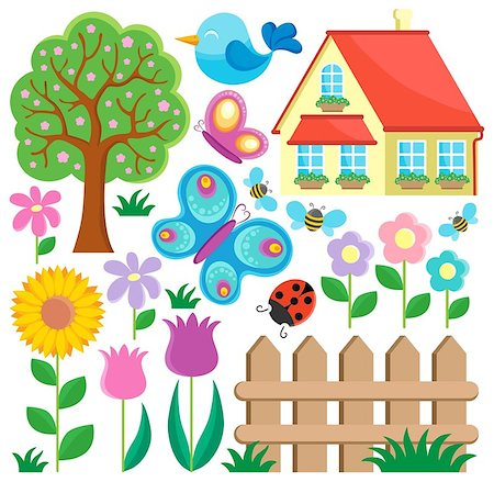 Garden theme collection 1 - vector illustration. Stock Photo - Budget Royalty-Free & Subscription, Code: 400-06639472