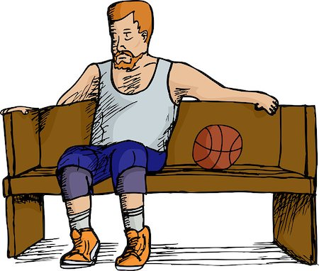 fat man balls - Mature heavyset basketball player sitting on bench over white background Stock Photo - Budget Royalty-Free & Subscription, Code: 400-06630123