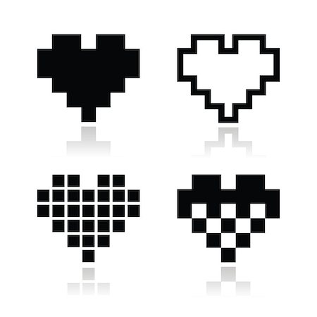 simsearch:400-04863562,k - Pixelated hearts with reflections icons set isolated on white Stock Photo - Budget Royalty-Free & Subscription, Code: 400-06630419