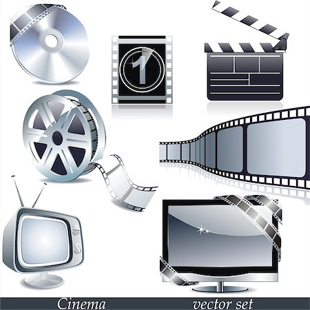 film strip - Vector cinema icons: film reel, stack of reels, film strip and clapboard Stock Photo - Budget Royalty-Free & Subscription, Code: 400-06630601