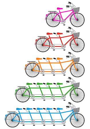 tandem bicycle set, vector design elements Stock Photo - Budget Royalty-Free & Subscription, Code: 400-06630833