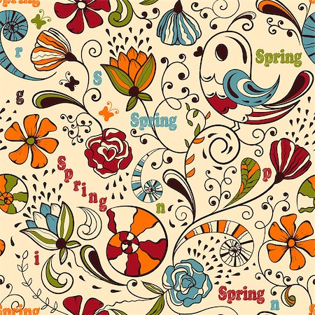Vector seamless spring pattern, fully editable eps 8 file, seamless  pattern in swatch menu, standart AI font Cooper std Stock Photo - Budget Royalty-Free & Subscription, Code: 400-06631137