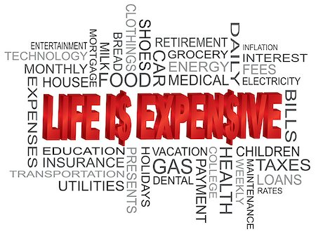 education loan - Life is Expensive 3D Word Cloud and Dollar Sign Isolated on White Background Illustration Stock Photo - Budget Royalty-Free & Subscription, Code: 400-06631215
