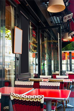 Street view of a coffee terrace with tables and chairs,paris France Stock Photo - Budget Royalty-Free & Subscription, Code: 400-06631249