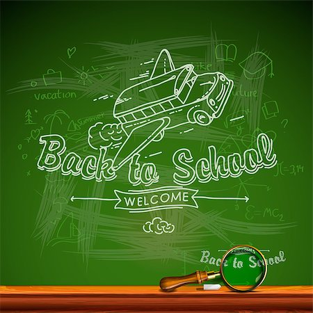 Back to school, chalkwriting on blackboard, vector Eps10 image. Stock Photo - Budget Royalty-Free & Subscription, Code: 400-06633636