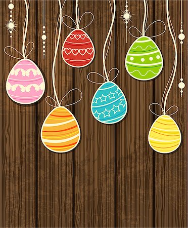 Vector wooden Easter background with decorative egg Stock Photo - Budget Royalty-Free & Subscription, Code: 400-06645361