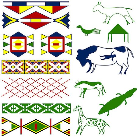 Vector image of ancient American pattern with animals on white Stock Photo - Budget Royalty-Free & Subscription, Code: 400-06641636