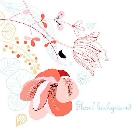 flower drawings black - a delicate floral background with bird and tulip poppy on white Stock Photo - Budget Royalty-Free & Subscription, Code: 400-06642029