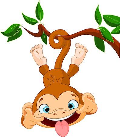 Cute baby monkey hamming on a tree. Stock Photo - Budget Royalty-Free & Subscription, Code: 400-06643945