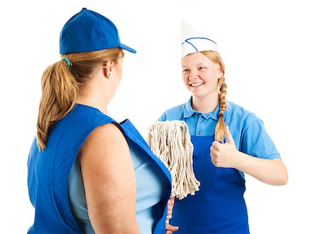 Teenage worker gives the thumbs up sign as her boss hands her the mop.  Isolated on white. Stock Photo - Budget Royalty-Free & Subscription, Code: 400-06685902