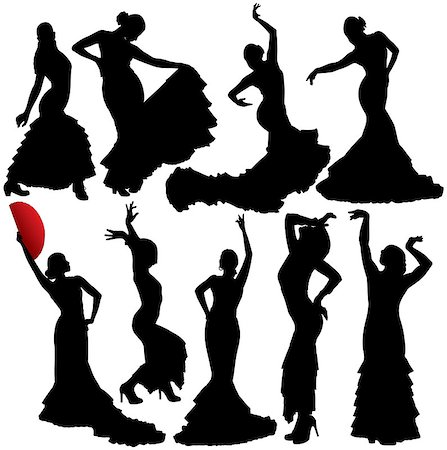 Women dancing flamenco and salsa vector silhouettes set. Layered. Fully editable. Stock Photo - Budget Royalty-Free & Subscription, Code: 400-06686028