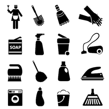 soleilc (artist) - Cleaning supplies and tools icon set Stock Photo - Budget Royalty-Free & Subscription, Code: 400-06686144