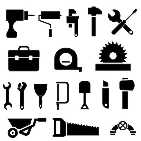 soleilc (artist) - Tool and hardware icon set in black Stock Photo - Budget Royalty-Free & Subscription, Code: 400-06686146