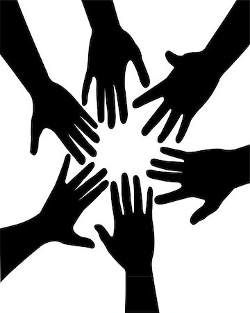 six hands together vector Stock Photo - Budget Royalty-Free & Subscription, Code: 400-06694500