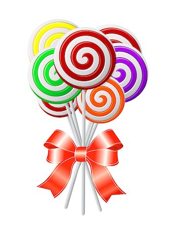 simsearch:400-04344039,k - Lollipops with red ribbon. Vector illustration Stock Photo - Budget Royalty-Free & Subscription, Code: 400-06695593