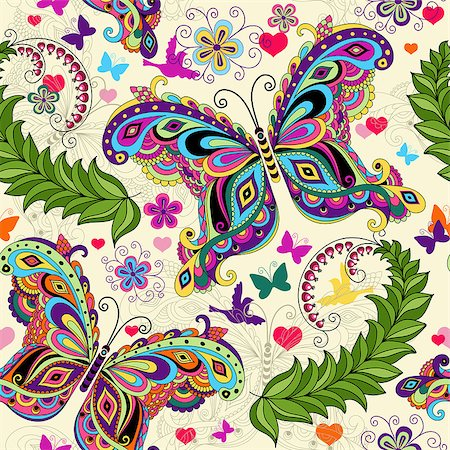Seamless valentine pattern with colorful vintage butterflies and flowers and hearts (vector) Stock Photo - Budget Royalty-Free & Subscription, Code: 400-06696007