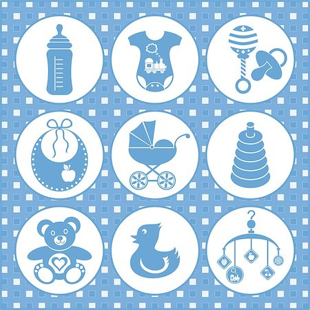 set of baby boy icons Stock Photo - Budget Royalty-Free & Subscription, Code: 400-06696217