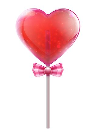 simsearch:400-04344039,k - Vector illustration of red heart shaped candy lollipop isolated on white background Stock Photo - Budget Royalty-Free & Subscription, Code: 400-06697074